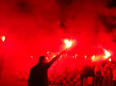(Sibbubble) Tags: light red london football celebration galatasaray turkish kutlama