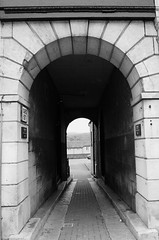 STONE ARCH ENTRANCE (Davesuvz) Tags: old england bw black english stone blackwhite alley cottage backstreet cobble alleyway cobbles