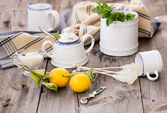 Morning: making with mint tea (Julicious) Tags: wood old food cup fruit canon table lemon tea rustic knife mint bowl fresh sugar textile mug stick mayer creamer foodphoto foodphotography foodstyle canon5dmarkiii