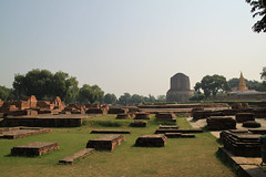 stupas at sarnath (lethologically) Tags: people india heritage history tourism water sunrise buildings river temple boat asia buddha religion silk places blessing holy varanasi ritual hindu hinduism oldcity ganges sarnath riverbanks ghat holywater northindia historicalsites oldcities heritagesites incredibleindia