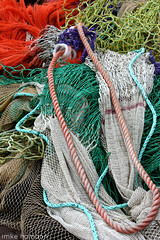 Beauty of the fishing nets II (imke!!) Tags: orange fish haven holland green net netherlands colors yellow port fishing bright harbour fishnet rope hafen ijsselmeer