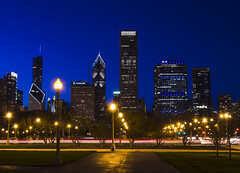 Chicago Blues (olsonj) Tags: blue chicago skyline lights illinois downtown hour