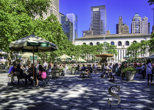 Bryant Park busy on a warm day-