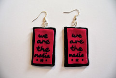 We Are The Media Earrings (JosieMM1013) Tags: music cute handwriting lyrics handmade crafts jewellery polymerclay clay earrings etsy quirky afp polymer amandapalmer wearethemedia etsyshop amandafuckingpalmer