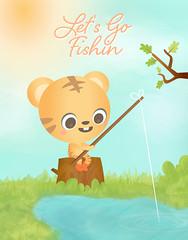 Let's Go Fishin' (Randi-chan) Tags: fish cute nature illustration design fishing character tiger kawaii vector