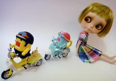 Wonder where they are off to??? (Kewty-pie) Tags: silver dress kitty scooter domo blythe custom truffle hallo qee helmets 118 pinkanemone pifeon jojoling galepet