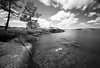 bjuggö (Andreas Lööf) Tags: longexposure trees summer sky blackandwhite bw lake nature water monochrome grass pine clouds landscape island rocks sweden tripod shoreline nopeople le horn scandinavia kinda sigma1020mm calmwater östergötland ndfilter lakescape neutraldensity nordics åsunden hycklinge bw301000x smothwater sonyalphaslta77