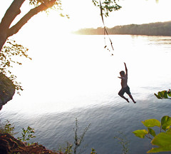 Halcyon Days (Tony Barber --The Jolly Swagman) Tags: county summer lake youth swim river landscape landscapes fly jump rocks tennessee father alabama son wheeler morgan bluff ropeswing bluffcity