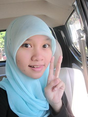 peace!! V (alifabokeh) Tags: blue portrait black me canon myself peace hijab hijabgirl canonpowershotsd780is