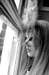 Mask (Laura Jade) Tags: old party white black window girl ball hair sad mask feathers young deception thinking blonde confused what venetian anonymous