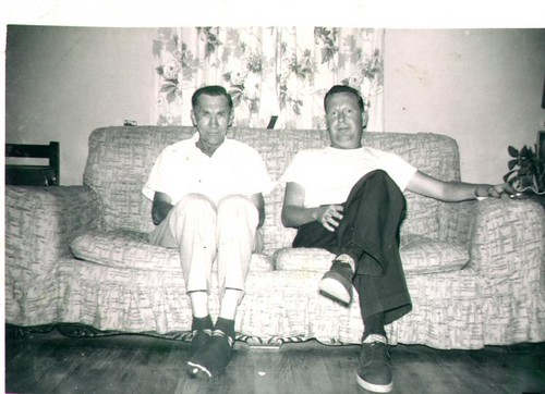 William Delvie Copeland, right, and his brother-in-law Dewey Weaver, left, late 1950s.
