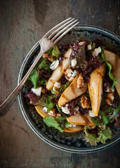 Roasted Pear and Gorgonzola Salad, with Balsamic Dressing   Will Cook For Friends (WillCookForFriends) Tags: blue autumn food fall cheese photography salad healthy cherries walnuts dressing cranberries pear balsamic roasted gorgonzola arugula vinaigrette
