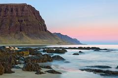 Not Alone (Danil) Tags: ocean morning sea mountain beach water berg rock sunrise landscape iceland sand nikon rocks exposure sheep peaceful lonely desolate landschap zand schapen icelandic westfjords rots d600 zeewier ijsland zonsopkomst bilduladur danielbosma