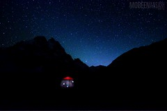 Nightfall and the red tent, Lower Shani, Gilgit Baltistan (Mobeen_Ansari (in Seattle, LA, TX and DC July-Augu) Tags: camp sky night nikon wide tent lower starry shani nightfall 1024mm d7000 nikond7000