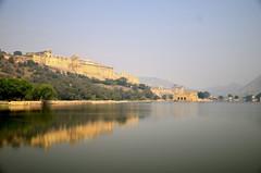 Amer Fort, Jaipur (RushabhSheth) Tags: india lake water landscape mirror fort palace jaipur amer flickr12days