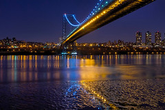 Have a Sparkling New Year! (SunnyDazzled) Tags: nyc longexposure bridge newyork reflection water night river cityscape clear hudson gwb georgewashingtonbridge washingtonheights