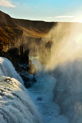 (xelia mj) Tags: park blue sunset red orange sun white mist fall water set river island gold waterfall iceland nikon cyan canyon spray hills national setting gullfoss thingvellir d5200