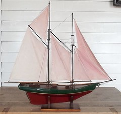 Edwardian pond yacht (oldsailro) Tags: park old boy sea summer people sun lake playing beach water pool girl sunshine youth sailboat race vintage children fun toy boat miniature wooden pond model waves sailing ship time yacht antique group boom mast hull keel