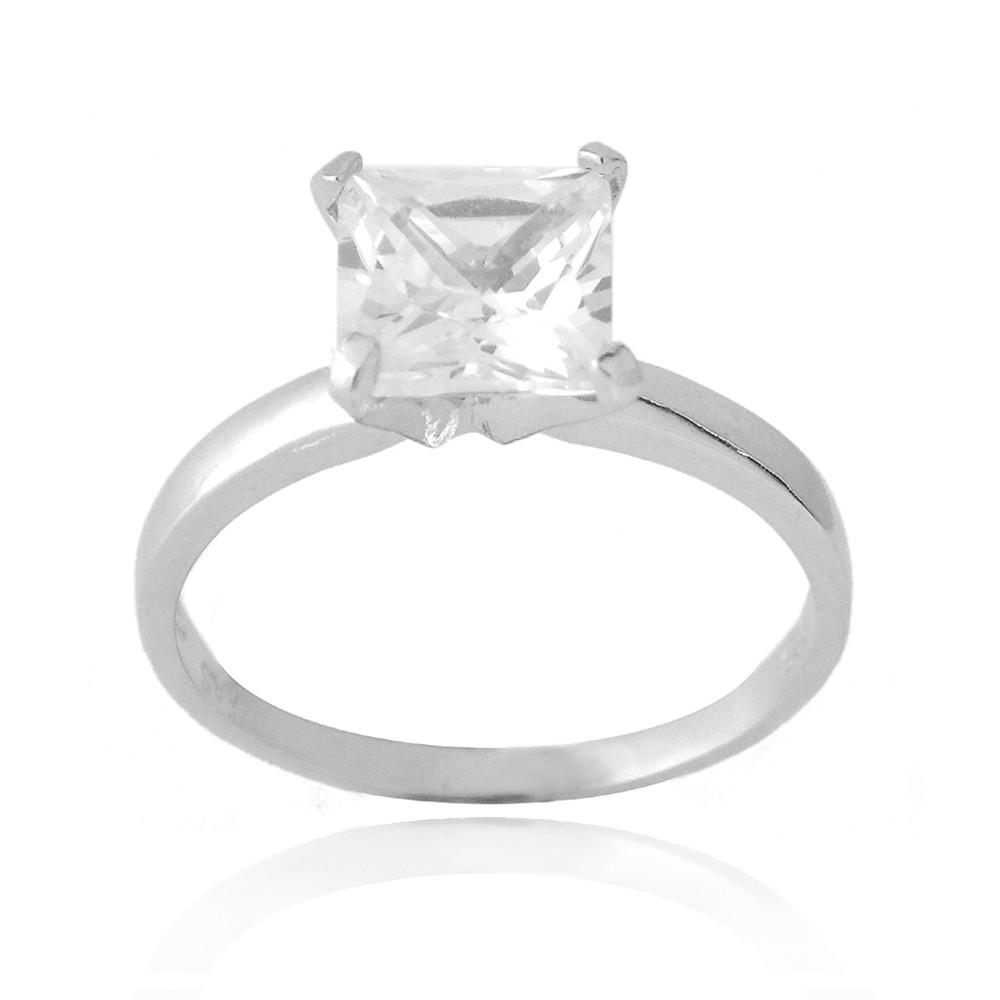 925 Silver 2ct Princess Cut CZ Bridal Engagement Ring S8
