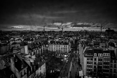"""Paris - at the end of the day"" (Stitcher) Tags: paris france landscape rooftops eiffeltower pompidou constructiontower silverefex nikcollection"