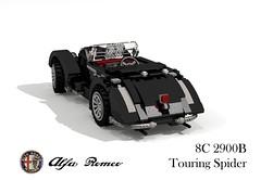 Alfa Romeo 8C 2900B Touring Spider - 1938 (lego911) Tags: auto italy classic car vintage spider 1930s model italia lego render 1938 alfa romeo veteran viva challenge touring cad sportscar racer lugnuts 76 povray moc 8c ldd vivaitalia 2900 miniland 2900b lego911