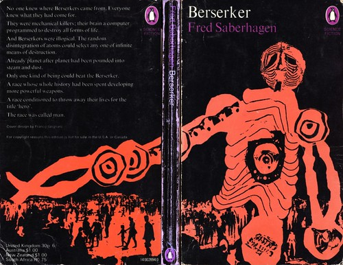 "Beserker by Fred Saberhagen. Penguin 1970. Cover artist Franco Grignani • <a style=""font-size:0.8em;"" href=""http://www.flickr.com/photos/75422475@N02/13163154134/"" target=""_blank"">View on Flickr</a>"