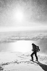 On Vanntinden (1031m), North Norway (S_Peter) Tags: leica sea 2 bw ski norway by silver boot boat norge meer north norwegen arctic sw schwarzweiss touring removed troms x2 skitouren lyngen efex aafilter vannya vanntinden