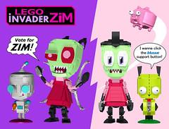 LEGO Invader Zim Brick-Built Figures - 1 (buggyirk) Tags: dog brick book pig robot comic lego alien cartoon suit human disguise invader zim press ideas built oni otp gir nickelodeon moc vasquez onipress afol jhonen brickbuilt buggyirk