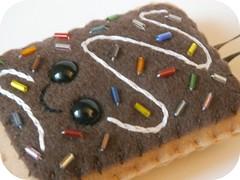 Chocolate rainbow sprinkle toaster pastry plush ornament (spazzywonder) Tags: dessert felt pop plush ornament tart poptart