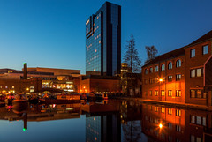 Birmingham - Sleek Reflection (John & Tina Reid) Tags: blue england reflection canal twilight birmingham unitedkingdom hour modernarchitecture midlands colourcontrast jonreid tinareid architecuralcontrast nomadicvisioncom
