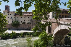 Rome, bridge on the Tiber Island in the summer (lauretta cardone) Tags: bridge trees summer island tiber leafs