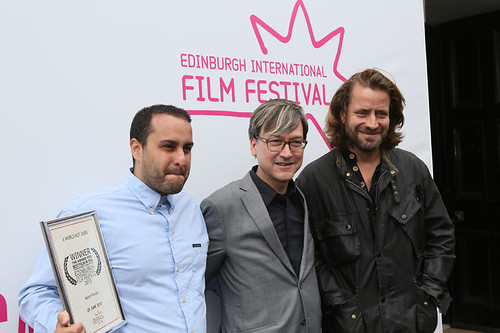 Lucien Castaing-Taylor with Chris Fujiwara and Mahdi Fleifel, outside the Filmhouse after the Awards ceremony with their awards