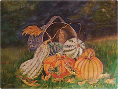 Screen painting-A Magical Art Form (MissyPenny) Tags: autumn orange usa art gourds vintage painting wire artwork acrylic folkart mesh pennsylvania pumpkins historical layers screens windowscreen screenpainting paintedwindowscreen vintageartform pdlaich ©pdlaich handpaintedwindowscreen paintingonscreens missypenny