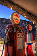 Backlit Gas Pumps on Route 66 in Cool Springs, Arizona in HDR (eoscatchlight) Tags: arizona route66 gasstation retired roadsideamerica servicestation rustyandcrusty gaspumps yesteryear fillingstation mobilgas gasolinestation coolsprings fadingamerica calnevari ofdaysgoneby