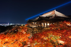 Kiyomizu at Night (k n u l p) Tags: autumn light leaves night temple maple kyoto 京都 紅葉 清水寺 kiyomizudera nex7 sel1018
