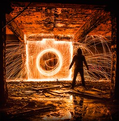Camera Shape (Lost Light) Tags: camera lightpainting abandoned water silhouette architecture night reflections fire warrington urbex wirewool wdcc noctography