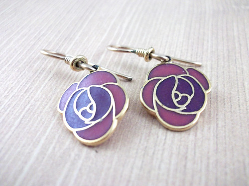 Vintage Pink & Purple Rose Dangle Earrings