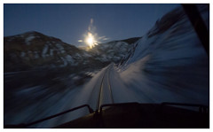 Last Full Moon of 2013 (Dusty Old Dust) Tags: moon snow train tracks canyon full locomotive rise freight
