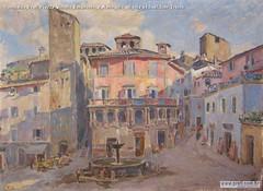 Romualdo Prati Piazza Vittorio Emanuele a Narin olio su tela 64,5x87,5cm Trento