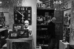 Untitled (ajkpix) Tags: california street people urban blackandwhite bw woman london clock shop blackwhite losangeles time antiques newgate blackwhitephotos scattidistrada thephotographyblog
