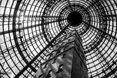 Coop's Shot Tower (Leighton Wallis) Tags: brick tower glass silhouette steel australia melbourne shoppingcentre victoria vic melbournecentral shottowermuseum