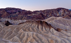 Before the dawn (Photosuze) Tags: morning mountains sunrise dawn deathvalley ripples zabriskiepoint rockformations deathvalleynationalpark sunrays5