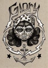 Glory (Bryan_Collins) Tags: art tattoo pen ink de skull design la sketch los drawing surrealism surreal dia pop artists bolt anchor muertos designs bolts lightning nautical draw bandana lowbrow penandink bryancollins