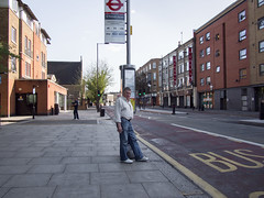 Bus Stop Pose (Magic Pea) Tags: street man london photography photo candid streetphotography busstop jeans streetphoto hackney lurch eastlondon magicpea