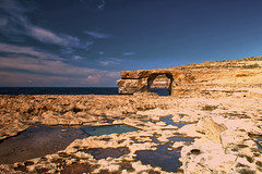 Azure Window (Tiequ Zerqa) At Sunset, Gozo, Malta. (PANDOOZY PHOTOS) Tags: blue sunset sea window water rock islands bay san arch village hole natural scenic azure places landmark malta tourist formation limestone maltese inland interest attractions gozo dwejra zerqa globigerina lawrenz tiequ