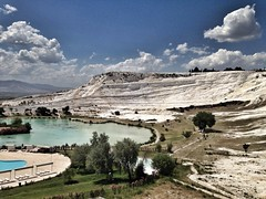 A view of Pamukkale (H McCann) Tags: travel history archaeology turkey greek ancient ruins roman turkiye unesco worldheritagesite histoire hieropolis hierapolis grecoroman pammukale travertines uploaded:by=flickrmobile flickriosapp:filter=nofilter