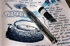 Ink Test: Noodler's Bad Blue Heron vs. Noodler's Blue-Black (jjldickinson) Tags: test pen paper japanese journal sample fountainpen teapot broad nib montblanc olympusom1 vial 149 protocol blueblack diplomat tetsubin ahab meisterstuck noodlersink fujicolorsuperiaxtra400 artalternatives gouletpencompany badblueheron promastermcautozoommacro2870mmf2842 promasterspectrum772mmuv 6polishedsteelnib hobnailteapot roll490o2