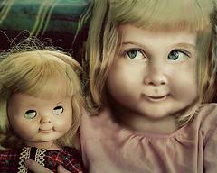 Buddies (maggalles) Tags: love look photoshop weird twins hug dolls buddies sister clone bff blonds