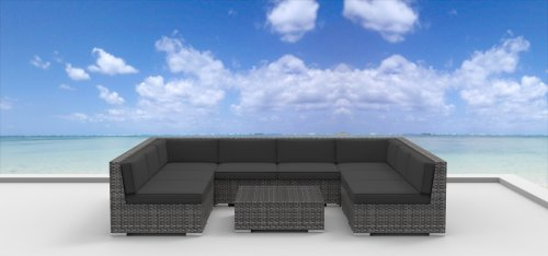 Urban Furnishing - Tahiti 9pc Modern Outdoor Backyard Wicker Rattan Patio Furniture Sofa Sectional Couch Set - Charcoal