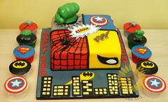 Superhero Quad Cake (Little Sunflower Cake Co) Tags: cake spiderman superhero hulk captainamerica wolverine